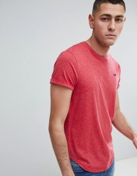 Hollister Curved Hem Crew Neck T-Shirt Seagull Logo in Pink Marl - Pink
