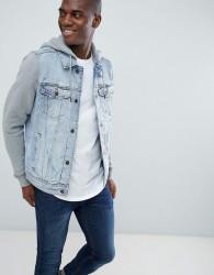 Hollister denim jacket sweat hood & sleeves in light wash/grey - Blue