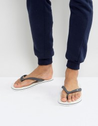 Hollister Logo Flip Flops in White - White