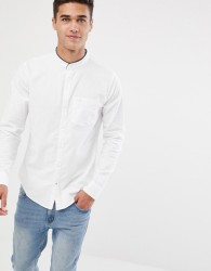 Hollister muscle fit banded collar icon logo oxford shirt in white - White