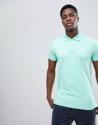 Hollister Solid Core Seagull Logo Polo Contrast Placket in Mint - Green