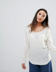h.One Wool Mix Relaxed Scoop Knit Jumper - White