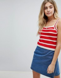 Honey Punch Cami Top In Stripe Knit - Red