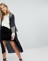 Honey Punch Kimono Bed Jacket In Satin With Eyelash Lace Trim - Black