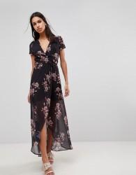 Hope & Ivy Floral Maxi Dress - Black