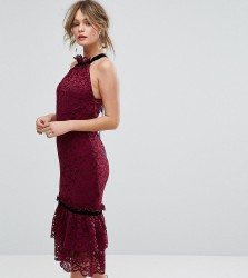 Hope & Ivy Lace Dress With High Neck And Ruffle Hem Detail - Red