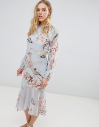Hope & Ivy Long Sleeve Open Back Printed Midi Dress With Delicate Lace Trim - Multi