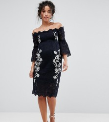 Hope & Ivy Maternity Bardot Lace Pencil Dress With Embroidery - Navy