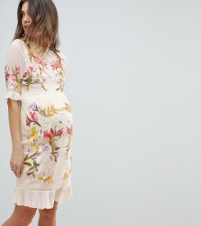 Hope & Ivy Maternity Premium All Over Floral Embroidered Mini Dress - Beige