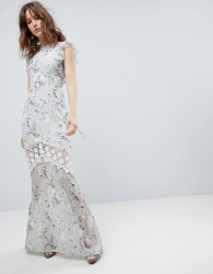 Hope & Ivy Printed Crochet Insert Maxi Dress With Open Back Ruffle Detail - Multi