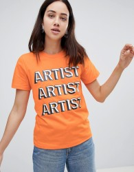House Of Holland Artist Slogan T-Shirt - Orange
