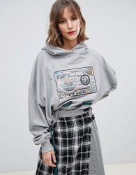 House of Holland cassette oversized 2-way hoodie - Grey