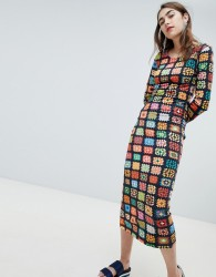 House of Holland Exclusive crochet print midaxi dress - Multi