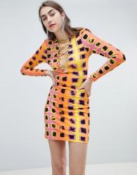 House of Holland Exclusive printed lattice tie dress - Multi