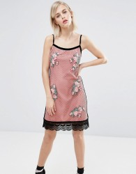 House of Holland Fishnet Embroidered Dress - Pink