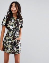 House of Holland Fitted Shirt Dress in Camo Print - Green