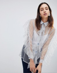 House Of Holland Flocked Tulle Frill Shirt - White