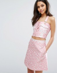 House Of Holland Heart Jacquard Crop Top - Pink
