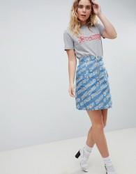 House Of Holland Logo Printed Denim Mini Skirt - Blue