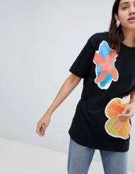 House Of Holland Multi Transfer Boyfriend T-Shirt - Black