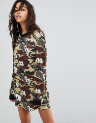 House of Holland Oversized Jersey Dress in Camo Print - Green