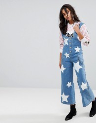 House of Holland Star Printed Denim Wide Leg Jumpsuit - Blue