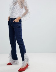 House Of Holland Tulle Frill Hem Boyfriend Jeans - Blue