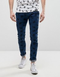 House of Holland X Lee Lettering Luke Skinny Jeans Mid Wash - Blue