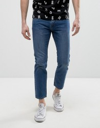 House of Holland X Lee Zip Powell Slim Jeans Mid Wash - Blue
