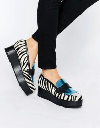 House of Holland Zebra Print Flatform Shoes - Multi