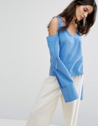 House Of Sunny Cold Shoulder Top With Tie Details - Blue