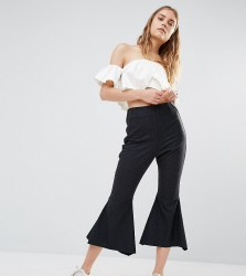 House Of Sunny Crop Kick Flare Trousers - Black