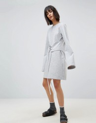 House Of Sunny Long Sleeve T-Shirt Dress With Corset Waist - Grey