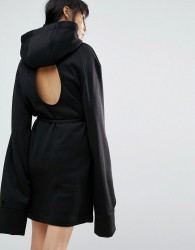House Of Sunny Longline Hoodie Dress With Cut Out Back Detail - Black
