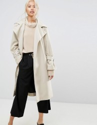 House Of Sunny Longline Trench Coat With Yoke Back Detail - Stone