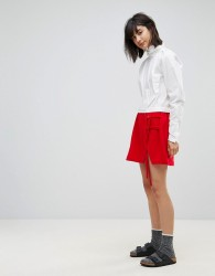 House Of Sunny Mini Skirt With Double Tie Detail - Red
