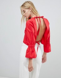 House Of Sunny Open Back Top With Flare Sleeve - Red