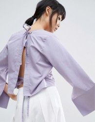 House Of Sunny Open Back Top With Wide Sleeve - Purple
