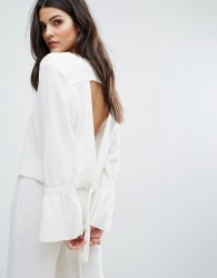 House Of Sunny Open Tie Back Top With Flare Cuff - White