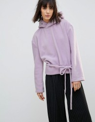 House Of Sunny Oversized Casual SweatShirt In Soft Fleece With Eyelet Detail - Purple
