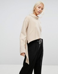 House Of Sunny Oversized High Neck Jumper In Rib With Tie Wiast - Stone
