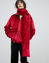 House Of Sunny Padded Jacket In Velvet With Detachable Scarf - Red