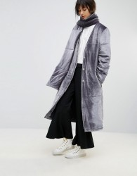 House Of Sunny Padded Longline Coat In Velvet With Detachable Scarf - Grey