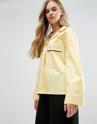 House Of Sunny Pyjama Style Shirt With Contrast Piping - Yellow