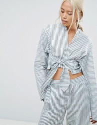 House Of Sunny Pyjama Style Shirt With Tie Front In Stripe Co-Ord - Multi