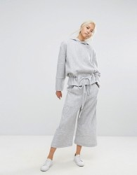 House Of Sunny Wide Leg Cropped Trousers In Rib Co-Ord - Grey