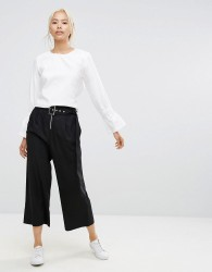 House Of Sunny Wide Leg Trousers With Eyelet Belt And Zip Detail - Black