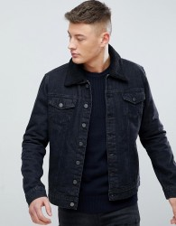 Hoxton Denim Black Denim Jacket with Borg Collar - Black