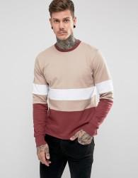 Hoxton Denim Block Panel Sweater - Pink
