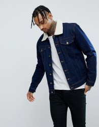 Hoxton Denim Dark Wash Denim Jacket with Borg Collar - Blue